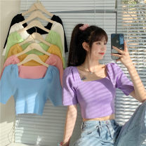 T-shirt Black, green, yellow, blue, purple, pink Average size Summer 2021 Short sleeve square neck Self cultivation have cash less than that is registered in the accounts puff sleeve commute nylon 71% (inclusive) - 85% (inclusive) 18-24 years old Korean version youth Other / other
