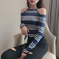 Wool knitwear Autumn 2020 Average size Blue and white stripes Long sleeves singleton  Socket other 81% (inclusive) - 90% (inclusive) have cash less than that is registered in the accounts routine commute Self cultivation routine stripe Korean version 18-24 years old