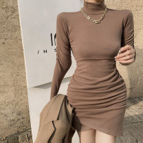 Dress Winter 2020 Black, Khaki Average size Short skirt Long sleeves commute High collar High waist Solid color Irregular skirt routine 25-29 years old Korean version