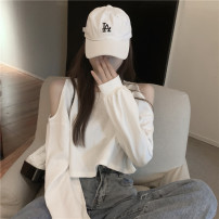 T-shirt White, gray Average size Autumn 2020 Long sleeves Crew neck easy have cash less than that is registered in the accounts commute other 51% (inclusive) - 70% (inclusive) 18-24 years old Korean version