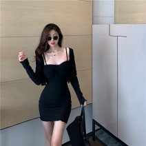 Dress Winter 2020 Suspender skirt, cardigan Average size Short skirt Two piece set Long sleeves One word collar High waist Socket One pace skirt routine camisole Type H 71% (inclusive) - 80% (inclusive) knitting cotton