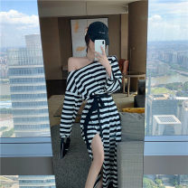Dress Autumn 2020 Black and white bar Average size Miniskirt singleton  Long sleeves commute One word collar High waist stripe Socket A-line skirt routine Others 25-29 years old Type A Korean version Frenulum 81% (inclusive) - 90% (inclusive) cotton