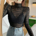 Lace / Chiffon Autumn 2020 Black, white Average size Long sleeves Versatile Socket singleton  Straight cylinder Half high collar Solid color routine 81% (inclusive) - 90% (inclusive) polyester fiber