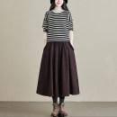 skirt Winter 2020 Elastic waist (skirt piece) Red brown Mid length dress commute High waist A-line skirt Type A S252C Retro