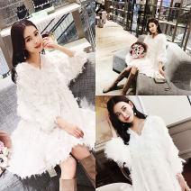Dress Little lazy cat White, black M,L,XL,XXL Korean version three quarter sleeve Medium length spring V-neck Solid color Chiffon