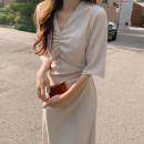 Dress Summer 2020 Green, Navy, milk tea, pink Average size Mid length dress singleton  Short sleeve commute V-neck High waist Solid color Princess Dress routine 18-24 years old Type X Korean version
