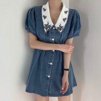 Dress Summer 2021 Denim blue Average size Short skirt singleton  Short sleeve commute Doll Collar High waist Solid color Single breasted A-line skirt puff sleeve 18-24 years old Type A Korean version Denim
