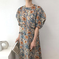 Dress Spring 2021 Apricot, blue Average size longuette singleton  Short sleeve commute Crew neck Loose waist Decor Princess Dress routine 18-24 years old Type X Korean version