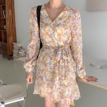 Dress Spring 2021 Black, light apricot, cream yellow Average size Short skirt singleton  Long sleeves commute V-neck High waist Decor Princess Dress puff sleeve 18-24 years old Type X Korean version