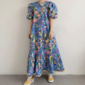 Dress Summer 2021 Blue, yellow Average size Mid length dress singleton  Short sleeve commute Crew neck Loose waist Decor Princess Dress puff sleeve 18-24 years old Type H Korean version