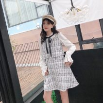 Dress Autumn 2020 White, black S,M,L,XL,2XL Short skirt Fake two pieces Long sleeves commute stand collar High waist zipper A-line skirt pagoda sleeve Type A lady Wool