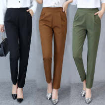 Casual pants Black [spring and autumn regular], caramel [spring and autumn regular], green [spring and autumn regular], black Qifen [no pocket], black [Summer thin], green [Summer thin], caramel [Summer thin] M【85-95】,L【95-110】,XL【110-125】,2XL【125-140】,3XL【140-155】 Summer 2020 Ninth pants Haren pants