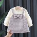 Dress Coffee, blue, pink female Other / other 66cm,73cm,80cm,85cm,90cm,95cm,100cm Cotton 95% polyurethane elastic fiber (spandex) 5% spring and autumn Korean version Long sleeves lattice cotton A-line skirt 12 months, 6 months, 9 months, 18 months, 2 years, 3 years