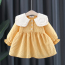 Dress Pink, yellow female Other / other 66cm,73cm,80cm,85cm,90cm,95cm,100cm,105cm Cotton 80% polyester 20% spring and autumn lady Long sleeves lattice cotton Princess Dress 12 months, 3 years, 18 months, 9 months, 6 months, 2 years, 4 years Chinese Mainland