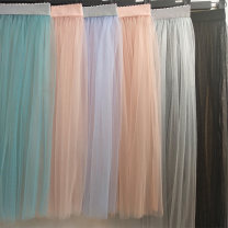 skirt Summer of 2019 Mid length dress commute High waist Fluffy skirt Solid color Type A 18-24 years old Y004 81% (inclusive) - 90% (inclusive) other Other / other polyester fiber Pleat, web Korean version