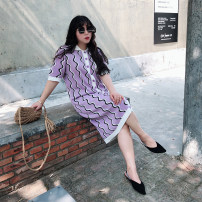 Women's large Spring 2020 Purple background Large L (about 130-170 Jin recommended), large XL (about 170-200 Jin recommended) Dress singleton  commute easy moderate Cardigan elbow sleeve shape Korean version Polo collar Medium length other Three dimensional cutting routine Other / other pocket other