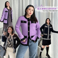 Women's large Spring 2021 Violet, thin and black Large L (about 120-165 kg recommended), large XL (about 165-200 kg recommended) Knitwear / cardigan singleton  commute easy moderate Cardigan Long sleeves other Korean version Crew neck routine other Three dimensional cutting routine Other / other