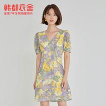 Dress Summer 2021 violet S M L Short skirt Short sleeve commute V-neck zipper 25-29 years old Hstyle / handu clothing house Korean version RO1068 More than 95% polyester fiber Polyester 100% Pure e-commerce (online only)