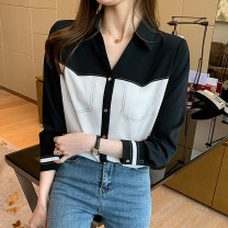 Lace / Chiffon Spring 2021 Long sleeve black and white, short sleeve black and white S,M,L,XL,2XL Long sleeves commute Cardigan singleton  Straight cylinder Regular Polo collar routine Splicing Retro 81% (inclusive) - 90% (inclusive)