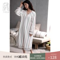 Nightdress Nidia white S M L XL Sweet Long sleeves Leisure home Middle-skirt spring stripe youth V-neck cotton printing More than 95% pure cotton F20310 200g and below Autumn 2020 Cotton 100% Pure e-commerce (online only)