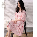 Nightdress Nidia Light pink S M L XL Sweet Short sleeve Leisure home Middle-skirt summer other youth Crew neck cotton printing More than 95% pure cotton FF20245 200g and below Summer 2020 Cotton 100% Pure e-commerce (online only)