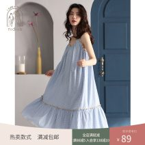 Nightdress Nidia Water blue S M L XL Simplicity camisole Leisure home Middle-skirt summer lattice youth V-neck cotton printing 41% (inclusive) - 60% (inclusive) XF20601 200g and below Summer 2020 Cotton 41.2% viscose 37.2% polyester 21.6% Pure e-commerce (online only)