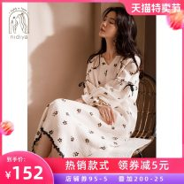 Nightdress Nidia Beige S M L XL Sweet Long sleeves Leisure home Middle-skirt spring Plants and flowers youth V-neck cotton lace More than 95% pure cotton TF21127 200g and below Autumn 2020 Cotton 100% Pure e-commerce (online only)