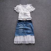 Fashion suit Summer of 2019 XXL,XL,L,M,S T-shirt + denim skirt, T-shirt + denim skirt