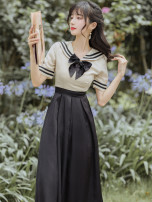 Dress Summer 2021 black S,M,L longuette singleton  Short sleeve commute Admiral High waist Solid color zipper Big swing routine Others Type A Retro Stitching, bows
