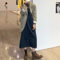 Dress Autumn 2020 navy blue. S. M, XS Mid length dress singleton  Sweet High waist Solid color A-line skirt straps 18-24 years old Eal Splicing other solar system