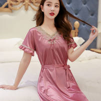 Nightdress Sleepy and elegant M 80-100kg, l 100-120kg, XL 120-130kg, 2XL 130-150kg Sweet Sleeveless Sports Home summer youth Crew neck other Embroidery 81% (inclusive) - 95% (inclusive)