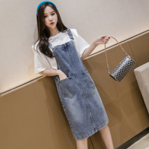 Dress Spring 2021 blue S,M,L,XL,2XL,3XL,4XL,5XL Mid length dress singleton  Sleeveless commute High waist Solid color other A-line skirt straps 18-24 years old Type A Korean version 1L