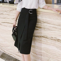 skirt Spring 2021 S,M,L,XL,2XL black Mid length dress commute High waist Irregular Solid color Type A 18-24 years old other Other / other other Bandage Korean version