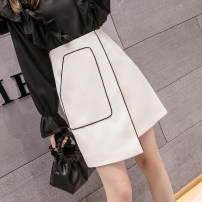 skirt Spring 2021 S,M,L,XL,2XL White, black Short skirt commute High waist A-line skirt Solid color Type A 18-24 years old N Other / other pocket Korean version
