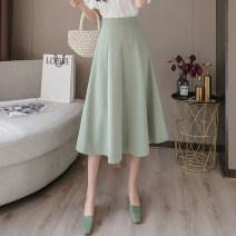 skirt Spring 2021 S,M,L,XL,2XL Black, apricot, bean green Mid length dress commute High waist Umbrella skirt Solid color Type A 18-24 years old YY 31% (inclusive) - 50% (inclusive) other other Pleated, zipper Korean version