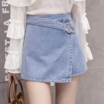 Jeans Spring 2021 Sapphire blue, light blue S,M,L,XL,2XL shorts High waist Wide legged trousers routine 18-24 years old Make old Dark color JJ