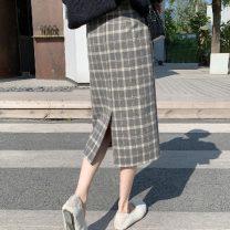skirt Winter 2020 L,M,S,XL Grey, brown Mid length dress commute High waist A-line skirt lattice Type H 18-24 years old 066Wei 30% and below Wool Korean version