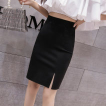 skirt Spring 2021 S,M,L,XL,2XL Black short, black medium and long Middle-skirt commute High waist skirt Solid color Type H 18-24 years old 71% (inclusive) - 80% (inclusive) other cotton zipper Korean version