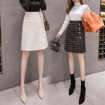 skirt Autumn 2020 S,M,L,XL Apricot, black Mid length dress commute High waist A-line skirt lattice Type A 18-24 years old yy. 30% and below other other Korean version