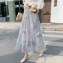 skirt Spring 2021 S,M,L,XL White, apricot, grey blue, star powder, white plush, apricot plush, grey blue plush Mid length dress commute High waist A-line skirt Type A 18-24 years old YY Korean version