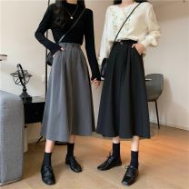 skirt Autumn 2020 M skirt is bigger, l skirt is bigger, XL skirt is bigger, 2XL skirt is bigger, 3XL skirt is bigger, 4XL skirt is bigger Black, gray longuette commute High waist A-line skirt Solid color Type A DM320098 51% (inclusive) - 70% (inclusive) other nylon pocket Korean version