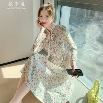 Dress Spring 2021 Decor S M L XL Middle-skirt singleton  Long sleeves commute other High waist Broken flowers Socket A-line skirt routine Others 25-29 years old Type A Roland Korean version More than 95% other Other 100% Pure e-commerce (online only)