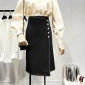 skirt Autumn 2020 S,M,L,XL black Middle-skirt commute High waist A-line skirt Solid color Type A 71% (inclusive) - 80% (inclusive) other Button, thread decoration Korean version