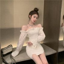 Dress Spring 2021 white S,M,L Short skirt singleton  Long sleeves commute One word collar High waist Solid color Socket other routine Others 18-24 years old Korean version 31% (inclusive) - 50% (inclusive)