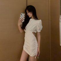 Dress Summer 2021 White, black S, M Short skirt singleton  Short sleeve commute High waist Solid color Socket puff sleeve 18-24 years old Korean version