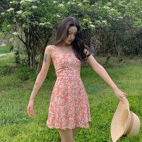 Dress Summer 2021 Orange flower S, M commute High waist 18-24 years old Korean version