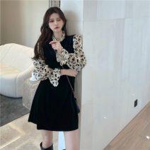 Dress Winter 2020 Black long, black short S,M,L Mid length dress Long sleeves commute High waist 18-24 years old Korean version