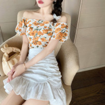 Fashion suit Summer 2020 S, M Yuanqi orange top, white skirt 18-25 years old