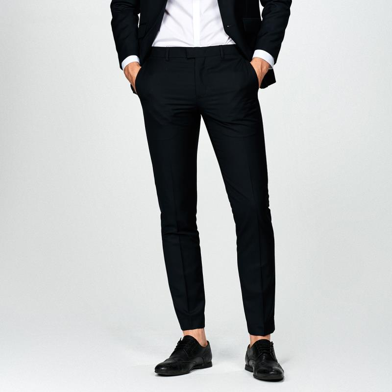 Western-style trousers Selected / Slade Business gentleman E40 black 165/72A/XSR 165/72A/XSL 170/76A/SR 170/76A/SL 175/80A/MR 175/80A/ML 180/84A/LR 180/84A/LL 185/88A/XLR 185/88A/XLL 190/92A/XXLR 190/92A/XXLL 195/96A/XXXLR 41736A504 trousers Slim fit youth Business Formal  Solid color polyester fiber