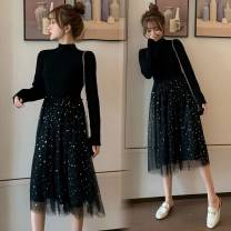Dress Autumn 2020 black Average size Mid length dress singleton  Long sleeves street Half high collar High waist Solid color Socket Princess Dress routine Type A Gauze Knitted mesh dress other Europe and America